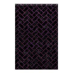 Brick2 Black Marble & Purple Leather (r) Shower Curtain 48  X 72  (small)  by trendistuff