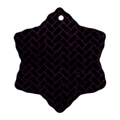 Brick2 Black Marble & Purple Leather (r) Snowflake Ornament (two Sides) by trendistuff