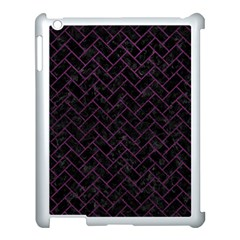 Brick2 Black Marble & Purple Leather (r) Apple Ipad 3/4 Case (white) by trendistuff