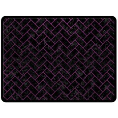Brick2 Black Marble & Purple Leather (r) Double Sided Fleece Blanket (large)  by trendistuff