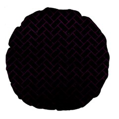 Brick2 Black Marble & Purple Leather (r) Large 18  Premium Flano Round Cushions by trendistuff