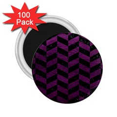 Chevron1 Black Marble & Purple Leather 2 25  Magnets (100 Pack)  by trendistuff