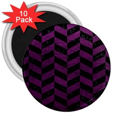 Chevron1 Black Marble & Purple Leather 3  Magnets (10 Pack)  by trendistuff