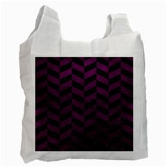 Chevron1 Black Marble & Purple Leather Recycle Bag (two Side)  by trendistuff