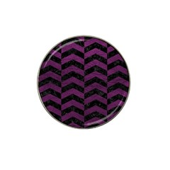 Chevron2 Black Marble & Purple Leather Hat Clip Ball Marker by trendistuff