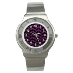 Chevron2 Black Marble & Purple Leather Stainless Steel Watch by trendistuff