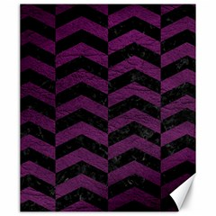 Chevron2 Black Marble & Purple Leather Canvas 20  X 24   by trendistuff