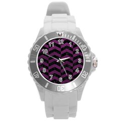 Chevron2 Black Marble & Purple Leather Round Plastic Sport Watch (l) by trendistuff