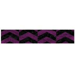 Chevron2 Black Marble & Purple Leather Flano Scarf (large) by trendistuff