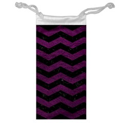 Chevron3 Black Marble & Purple Leather Jewelry Bag by trendistuff
