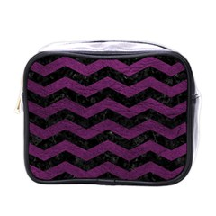 Chevron3 Black Marble & Purple Leather Mini Toiletries Bags by trendistuff