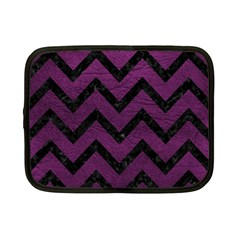 Chevron9 Black Marble & Purple Leather Netbook Case (small)  by trendistuff