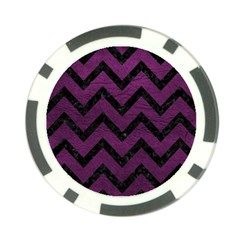 Chevron9 Black Marble & Purple Leather Poker Chip Card Guard (10 Pack) by trendistuff