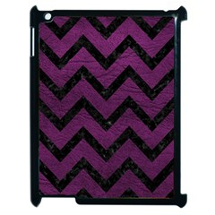 Chevron9 Black Marble & Purple Leather Apple Ipad 2 Case (black) by trendistuff