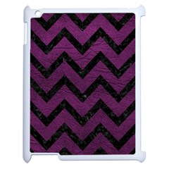 Chevron9 Black Marble & Purple Leather Apple Ipad 2 Case (white) by trendistuff