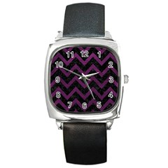 Chevron9 Black Marble & Purple Leather (r) Square Metal Watch by trendistuff
