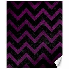 Chevron9 Black Marble & Purple Leather (r) Canvas 8  X 10  by trendistuff