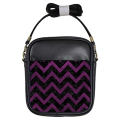 Chevron9 Black Marble & Purple Leather (r) Girls Sling Bags by trendistuff