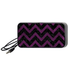 Chevron9 Black Marble & Purple Leather (r) Portable Speaker by trendistuff