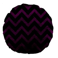 Chevron9 Black Marble & Purple Leather (r) Large 18  Premium Flano Round Cushions by trendistuff