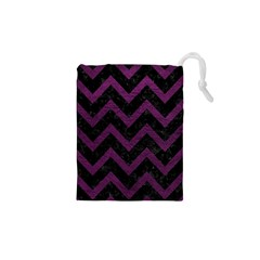 Chevron9 Black Marble & Purple Leather (r) Drawstring Pouches (xs)  by trendistuff