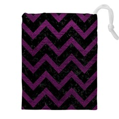 Chevron9 Black Marble & Purple Leather (r) Drawstring Pouches (xxl) by trendistuff
