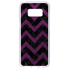 Chevron9 Black Marble & Purple Leather (r) Samsung Galaxy S8 White Seamless Case by trendistuff