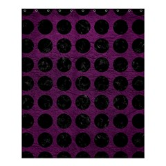 Circles1 Black Marble & Purple Leather Shower Curtain 60  X 72  (medium)  by trendistuff