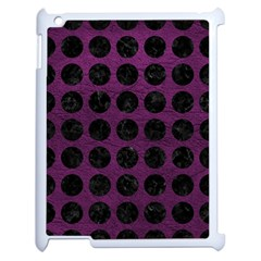 Circles1 Black Marble & Purple Leather Apple Ipad 2 Case (white) by trendistuff