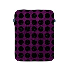 Circles1 Black Marble & Purple Leather Apple Ipad 2/3/4 Protective Soft Cases by trendistuff