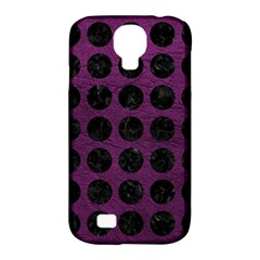 Circles1 Black Marble & Purple Leather Samsung Galaxy S4 Classic Hardshell Case (pc+silicone) by trendistuff