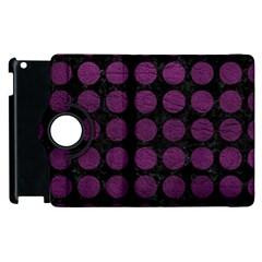 Circles1 Black Marble & Purple Leather (r) Apple Ipad 2 Flip 360 Case by trendistuff