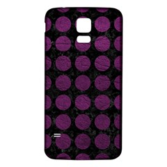 Circles1 Black Marble & Purple Leather (r) Samsung Galaxy S5 Back Case (white) by trendistuff