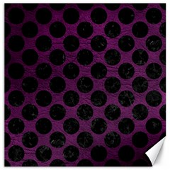 Circles2 Black Marble & Purple Leather Canvas 20  X 20   by trendistuff