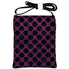Circles2 Black Marble & Purple Leather Shoulder Sling Bags by trendistuff