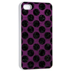 Circles2 Black Marble & Purple Leather Apple Iphone 4/4s Seamless Case (white) by trendistuff