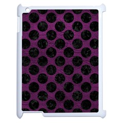 Circles2 Black Marble & Purple Leather Apple Ipad 2 Case (white) by trendistuff