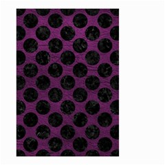 Circles2 Black Marble & Purple Leather Small Garden Flag (two Sides)