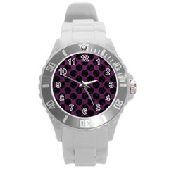 Circles2 Black Marble & Purple Leather Round Plastic Sport Watch (l) by trendistuff