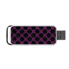 Circles2 Black Marble & Purple Leather Portable Usb Flash (one Side) by trendistuff