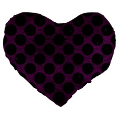 Circles2 Black Marble & Purple Leather Large 19  Premium Heart Shape Cushions by trendistuff