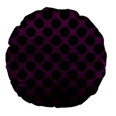Circles2 Black Marble & Purple Leather Large 18  Premium Flano Round Cushions by trendistuff