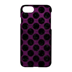 Circles2 Black Marble & Purple Leather Apple Iphone 7 Hardshell Case
