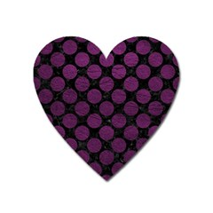 Circles2 Black Marble & Purple Leather (r) Heart Magnet by trendistuff
