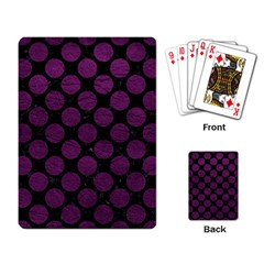 Circles2 Black Marble & Purple Leather (r) Playing Card by trendistuff