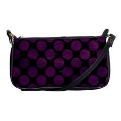 Circles2 Black Marble & Purple Leather (r) Shoulder Clutch Bags by trendistuff