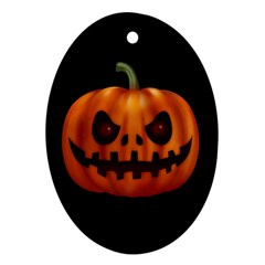 Halloween Pumpkin Oval Ornament (two Sides) by Valentinaart