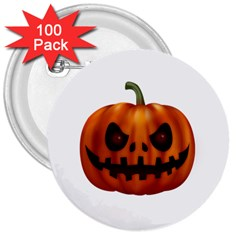Halloween Pumpkin 3  Buttons (100 Pack)  by Valentinaart