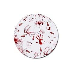 Massacre  Rubber Round Coaster (4 Pack)  by Valentinaart