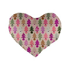 Christmas Tree Pattern Standard 16  Premium Heart Shape Cushions by Valentinaart